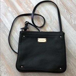 Nine West black leather crossbody bag.